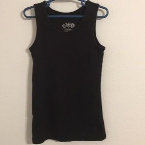 Justice black stretch ribbed tank top
